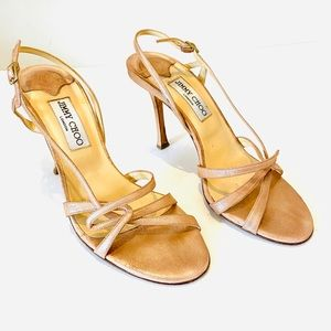 Jimmy Choo Authentic Rose Gold Shimmer Heels